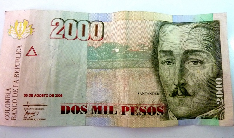 Billet 2 000 Pesos Colombien