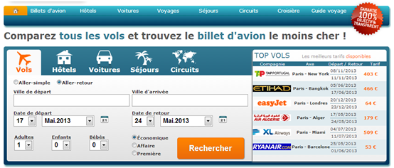 Interface graphique Easyvols_Copie d'écran